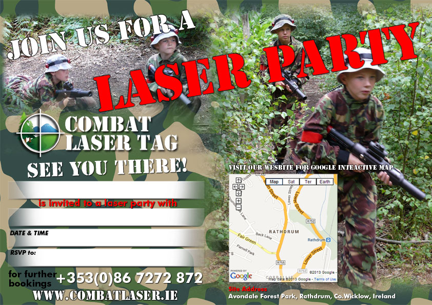 Combat Laser Games Party Invitation
